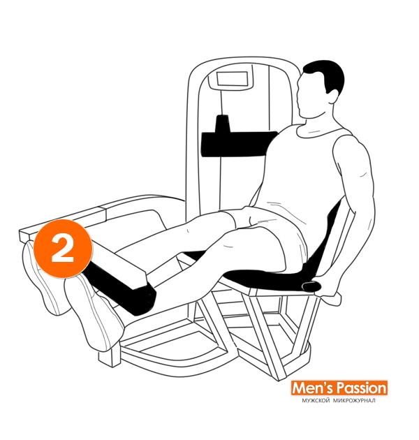 Техника выполнения разгибания двух ног в тренажере единовременно