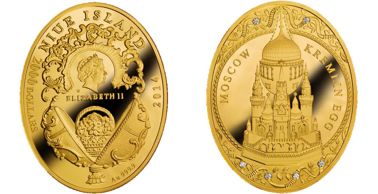 Золотая монета государства Ниуэ «Московский Кремль»