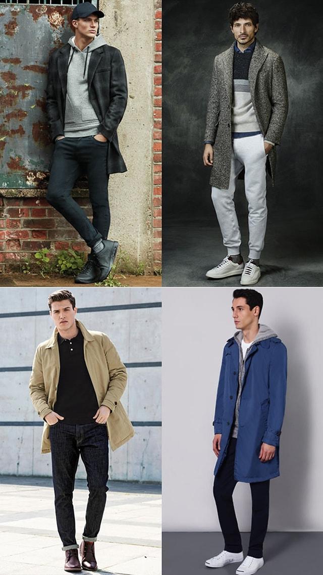 Сочетание: Штаны и тренч, длинный пиджак