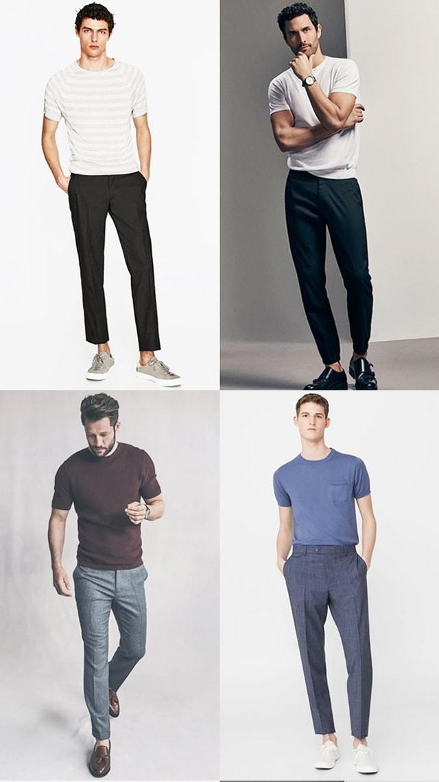 Сочетание Классические брюки и футболка